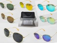 high quality Round Metal 3447 Sunglasses sunglasses women brand designer 50mm Glass Lenses for Men sunglass with 7 color