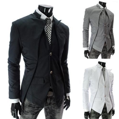 Men's Blazer Jacket Famous Brand Fashion 2015 New Black/ White Slim Casual Male Blazer Suit Blaser Jackets Coat XXL Plus Size(China (Mainland))