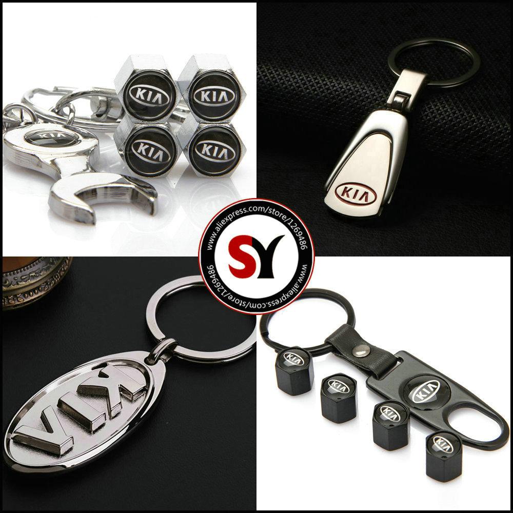 Kia Car Keychain Keyrings Key Holder With Kia Emblems Auto Parts accessories Auto Tire Valve CapS For Kia Car(China (Mainland))