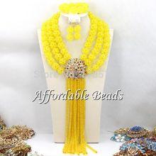 Lemon Yellow African Jewelry Sets 18k Fashion Nigerian Beads Jewelry Set Wholesale ABC022(China (Mainland))