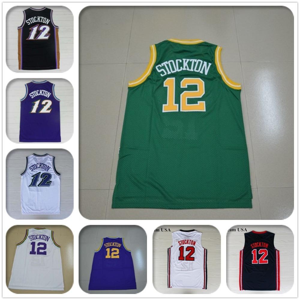 New Arrival Utah #12 John Stockton Jersey 95 96 all star Throwback White Purple American John Stockton USA Basketball Jersey(China (Mainland))
