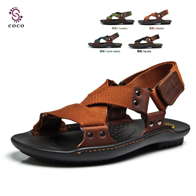 Best-selling Classic Design Men Sandals Hemp+ Genuine Leather Beach sandals Men Slippers Men Summer shoes(China (Mainland))
