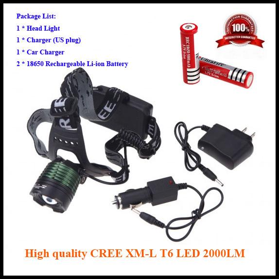 Налобный фонарь OEM 2000 CREE xm/l T6 /2 * 18650 K12-T6
