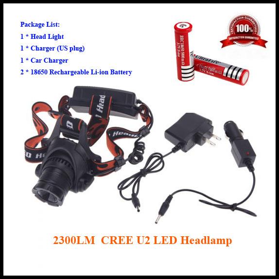 Налобный фонарь OEM 2300 Cree XML U2 3 /2 * 18650 /Car 87-U2 налобный фонарь oem 160lm 3 ll029