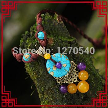 fashion vintgae chinese wind ethnic turquoise necklace ,new art purple Chrysoprase necklace,handmade antique brass necklace(China (Mainland))