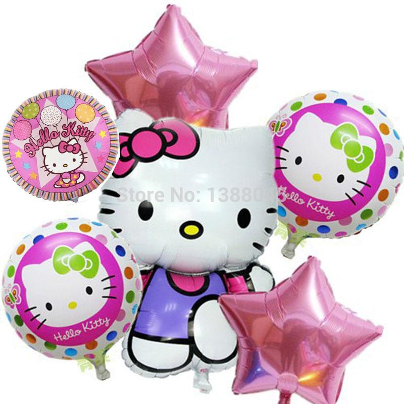 6pcs/lot Mix Hello Kitty Balloons Cartoon Globos Pink Star Aluminium Foil Balloon Happy Birthday Decoration Baloes Balao Baloon(China (Mainland))