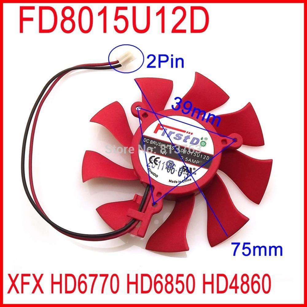 Firstd FD8015U12D DC BRUSHLESS FAN 12V 0.5A 75mm 39x39x39mm XFX HD6850 HD4860 HD6770 Graphics/Video Card Fan 2Pin(China (Mainland))