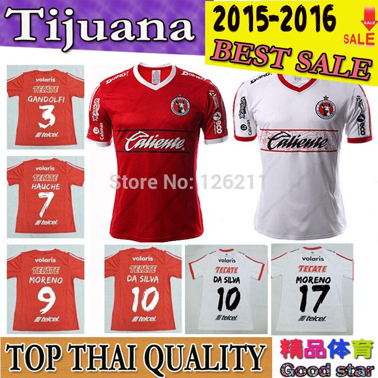 2015 Club Tijuana jersey soccer home red away MEXICO LEAGUE 15 16 Tijuana Xolos jerseys football shirt customize original font(China (Mainland))