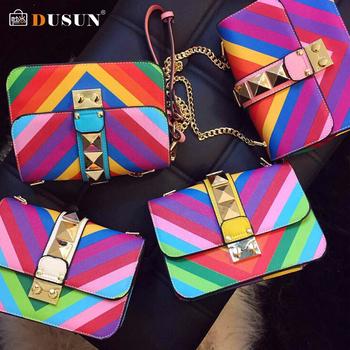 2015 новый женщины радуга цвет сумка дамы заклепки кожа Crossbody сумка маленькая бренд ну вечеринку сумки высокое качество сумка