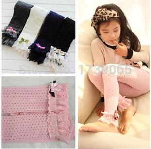 Height 95cm-130cm Children Baby Girl Leggings Lace Cotton Single Add Crotch Dot Design colorful S M L Size Thick Spring Autumn(China (Mainland))