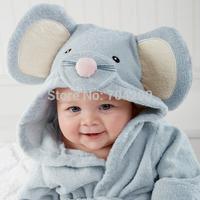 Blue Mouse Rat Modeling Baby bathrobe/Hooded kid bath towel/Cartoon children's beach towel/Infant Wrap Pajamas