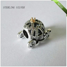 925 Sterling Silver Beads cinderella pumpkin silver charm with 14k and cubic zirconia silver charms for women FL25184