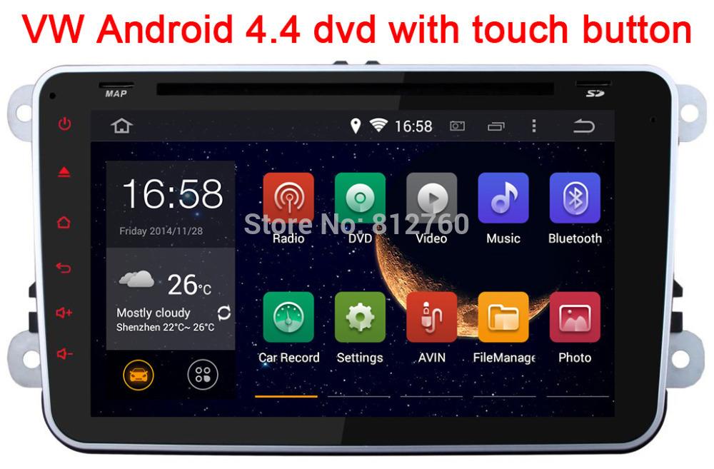 "8"" Pure Android 4.4.4 VW Car DVD GPS with Touch button Radio GOLF 6 new Polo Bora JETTA MK4 B6 PASSAT Tiguan SKODA OCTAVIA Fabia(China (Mainland))"
