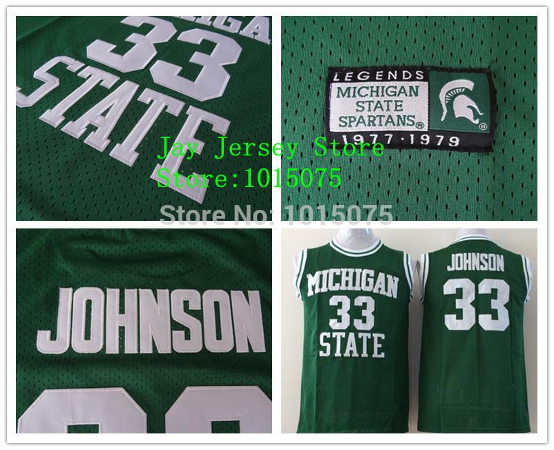 Magic Johnson College Jersey Michigan State Spartans NCAA 33# Green Stitched(China (Mainland))