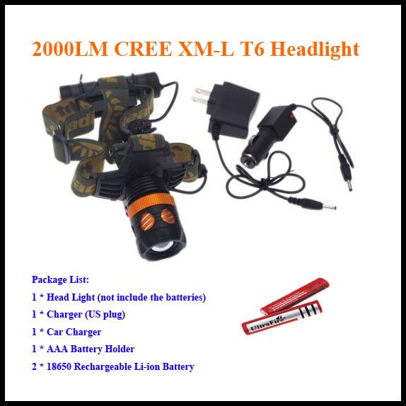 Налобный фонарь OEM XML T6 2000LM 3 2 18650 5000mAh K13-T6 налобный фонарь 2000lm t6 cree xml 4200mah 2 18650