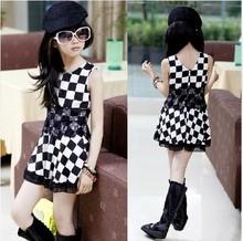 Novo 2015 meninas de verão vestir meninas vestido xadrez meninas roupas crianças vestido 5-14 anos kids clothing tamanho 120 - 160 cm(China (Mainland))