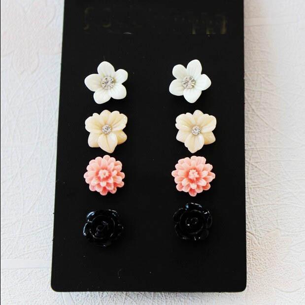 women girls lovely colored resin flower cream pink multiple stud earrings set cute jewelry