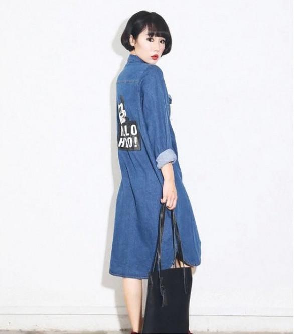 Denim Long Sleeve Shirt Dress images