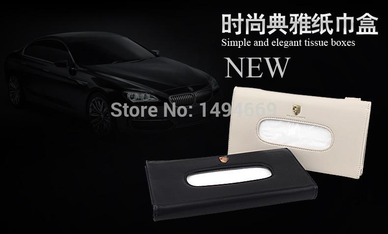 2015 New Modern design Leather car tissue Box Luxury car Napkin holder Sun Visor Type auto paper / Tissue case for all car logo(China (Mainland))