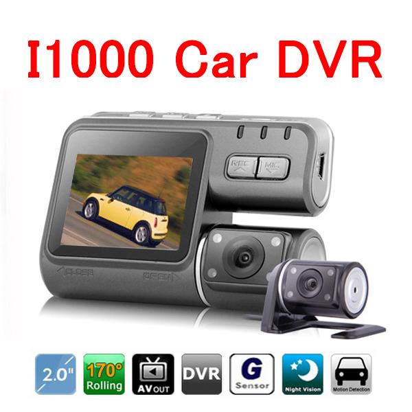 Hot Full HD 1080p Car Dvr Dual Camera 2 Dual Lens Dash Cam I1000 For Vehicle Video Recorder Car Black Box Dvr With Two Cameras(China (Mainland))