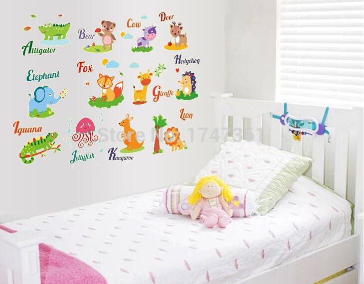 de fondo de la historieta animales wall stickers inglés de la