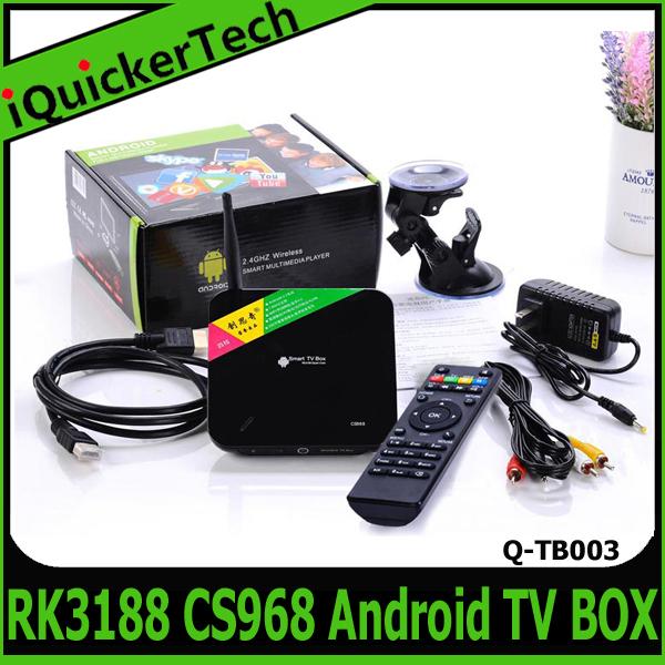 8 PCS/ Lots Free DHL Android 4.4 Bluetooth XBMC RJ45 TV Box w/ 2MP Camera Skype Voip 2G 8G CS968 Quad Core RK3188 Q-TB003(China (Mainland))