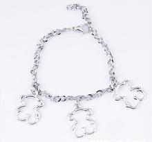 2015 Trendy Classical Lovely Little bear bracelet chain Silver gold Titanium Alloy bear Jewelry fashion men