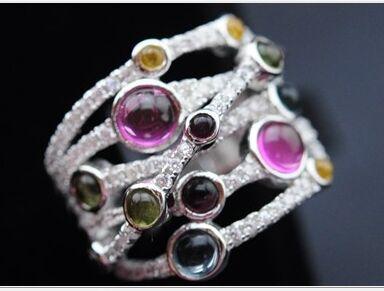 925 sterling silver handmade rhodium optimize Quartz Tourmaline Ring luck free shipping(China (Mainland))