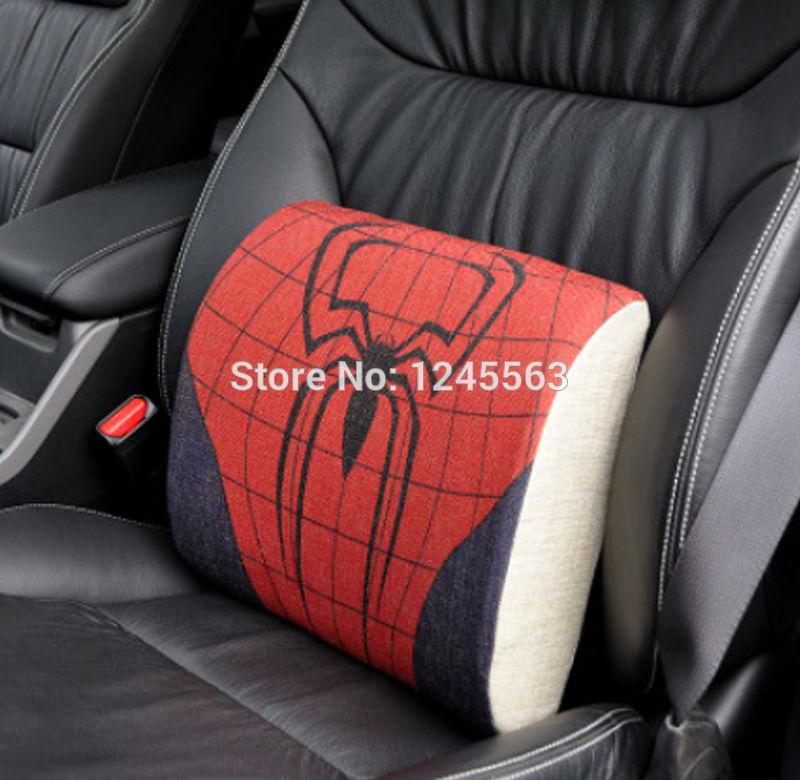 Linen Fabric Kids Spiderman Chair Lumbar Pillows Superman Car Seat Back Cushion Batman Ironman Waist Cushion(China (Mainland))
