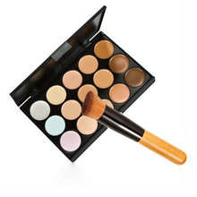 New 15 Colors Professional Salon Party Concealer Contour Face Cream Makeup Palette +1pc Makeup Brush ZH102