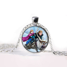 Elsa Anna Olaf Cartoon Jewelry Girl Round Elsa Anna Olaf Glasses Pendant Necklace Women Girls Sweater