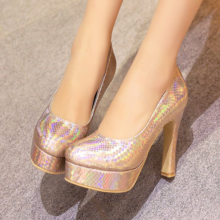 Plus size 34-43 New 2015 Spring summer Shoes woman High heels Platforms Pumps Red Silver Gold Glitter Multicolor Fashion Sexy(China (Mainland))