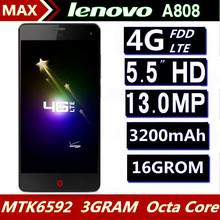 "Original Lenovo A808 telefone 5.5 "" 1920 * 1080 IPS Android 4.4 MTK6592 Octa Core 3G RAM 16G ROM 4G LTE GPS Mobile phone"