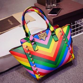 2015 весенние сумки цвет блока радуга женщины сумочку крылья пакет сумочка заклепки сумка