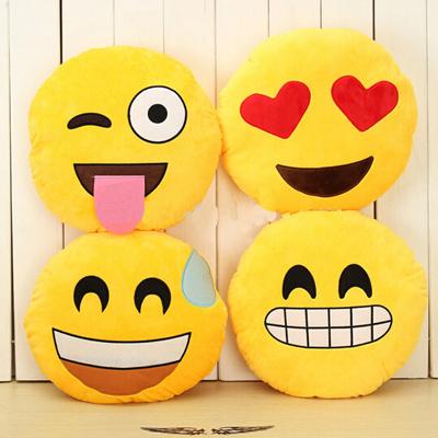 2015 Hot Emoji Cushion Smiley Face Expression Round Cushion home Pillow Stuffed Plush Soft Warm Toy Home Decorative Pillow GM25(China (Mainland))