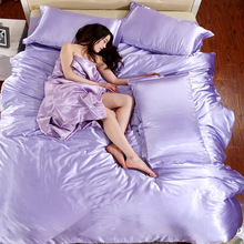 Imitation silk feeling nature fabric bedding sets light purple luxury bed linen duvet cover sets bedclothes bedspread #S45-2(China (Mainland))