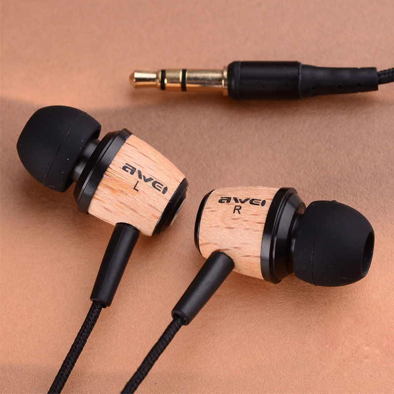 Original AWEI Q9 Super Bass Wooden in Ear Headphones Earphones Headset For Phone,Computer,MP3 MP4 Headphone Headset 3.5mm Jack(China (Mainland))