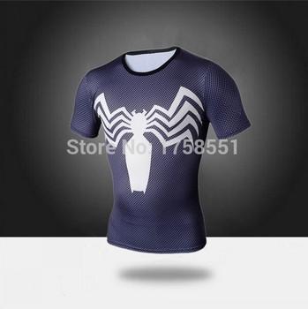 Высокое качество сжатия футболки супермен / бэтмен / человек паук / капитан америка тренажерный зал майка мужчин фитнес рубашки мужчины футболки