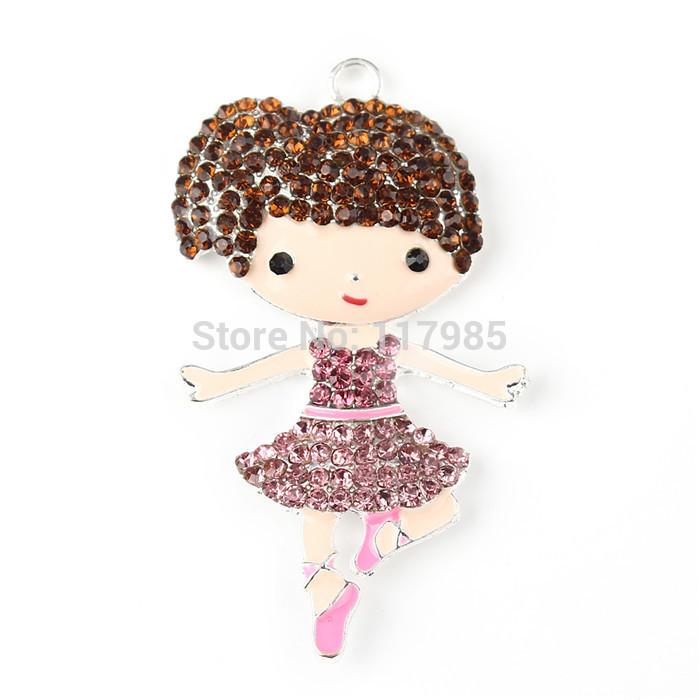 Kawaii Princess Rhinestone Pendants for Chunky Necklace Chunky Mermaid Rhinestone Pendants10pcs/lot Cartoon Pendants(China (Mainland))