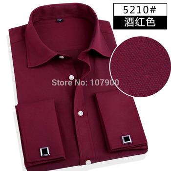 Мода мужчины бизнес рубашки французский кнопка манжеты мужчин рубашки платья хлопок ...