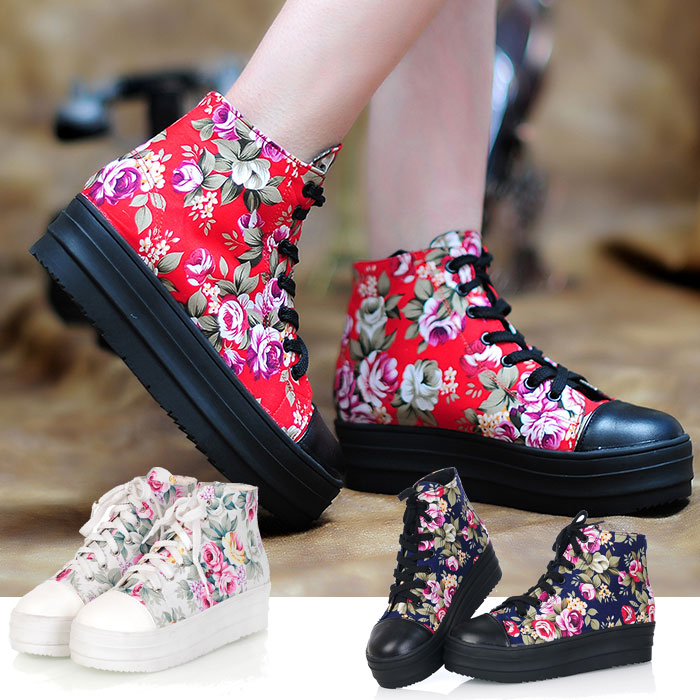 New Sneakers For Women cheap online name brand Platform shoes China style flower on red black white colour plus size Good Seller(China (Mainland))