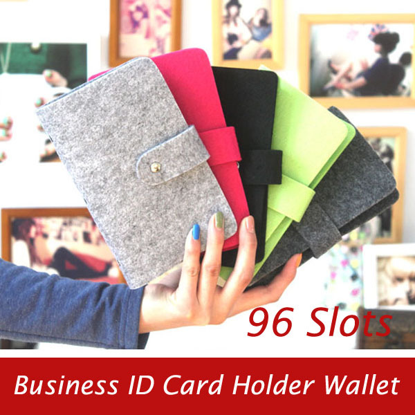 Fashion Large Capacity 96 Slots Card & Name Card Holders Bag Business Women Men Felted Wool Hasp ID Card Case Holders Wallets(China (Mainland))