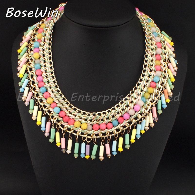 5 Color Handmade Weaving Women Choker Fashion Gold Chain Resin Beads Bib Collar Statement Chunky Necklaces 2015 Collier Bijoux(China (Mainland))