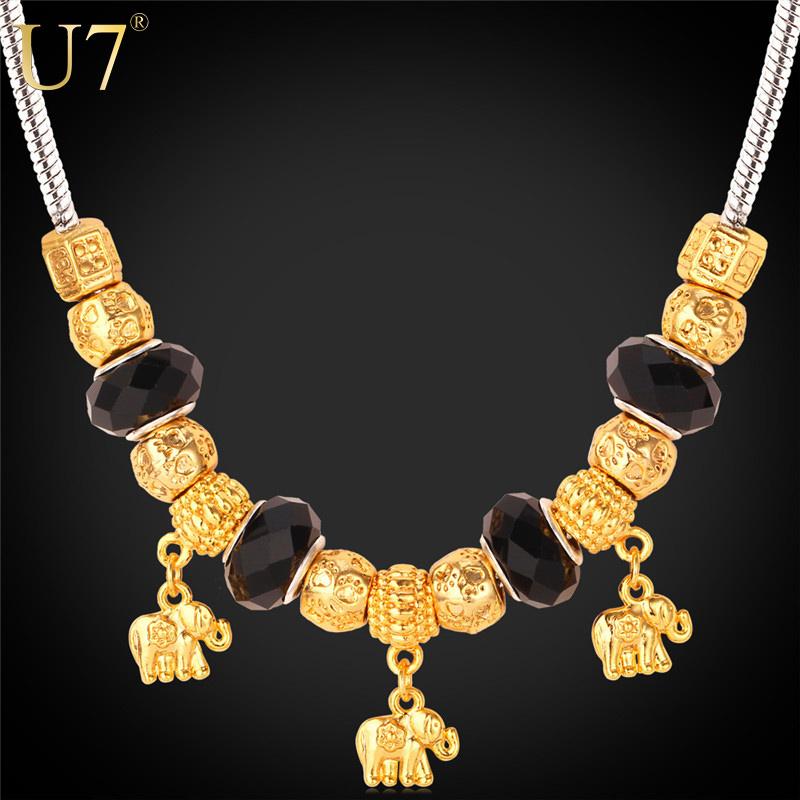 Crystal Bead European Brand Jewelry 2015 New Platinum&18K Gold Plated Elephant Pendants Necklaces Women Bohemia Jewelry P528(China (Mainland))