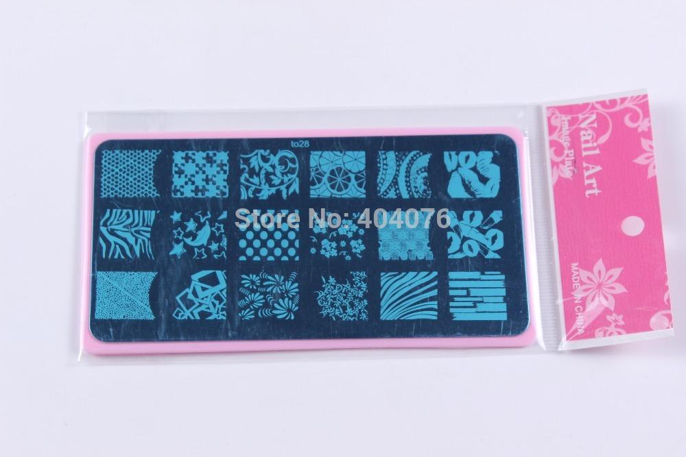 Mix 16PCS Pink Holder Stamping Nail Art Plates 6X12cm Image Plate BIG Template to17-32 Opp Packing Nail Plate Free Shipping#P28(China (Mainland))