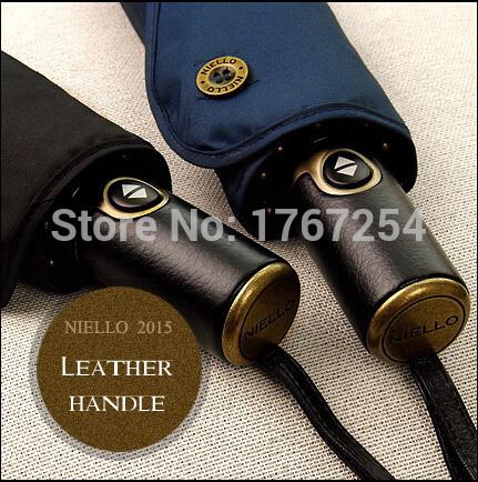 2015 Brand High Quality Umbrella Leather Handle Automatic Umbrella Men Large Strongly Sun/Rain Folding Umbrella For Business Men(China (Mainland))