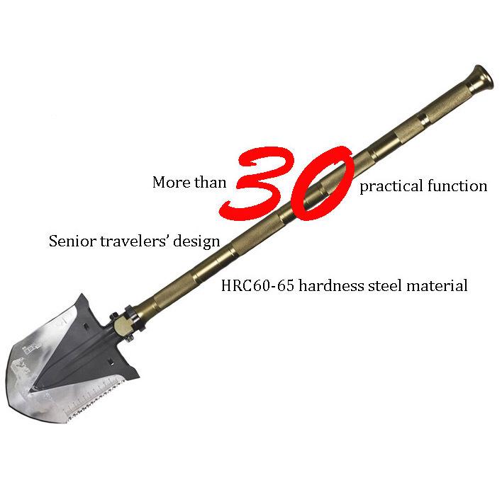 Best 30 Functions Shovel Survival Kit Outdoor Camping Equipment Supervivencia Flint Fire Starter Knife Paracord Parachute