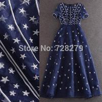 2015 Organza Five-pointed Star Fashion Dress Women Dress Party Dresses Short sleeve Length expansion bottom  Blue Dress