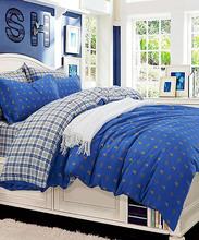 Blue cute bear cotton bedding set kids,4pcs full queen beautiful lovely cartoon home textile flat sheet pillow case quilt cover(China (Mainland))