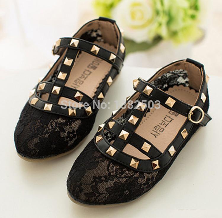 2015 children flats kids dress shoes girl flats rivet metallic bows dance shoes child loafer dance shoes little big kid size DF4(China (Mainland))